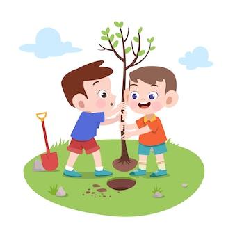 Meninos crianças, plantar, árvore, ilustração