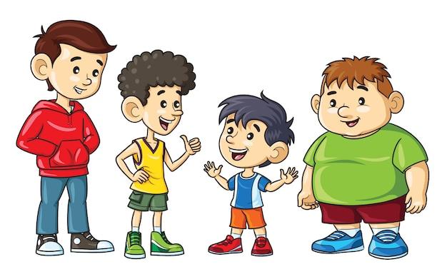 Meninos de desenho animado são gordos, magros, altos e baixos.