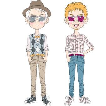 Meninos de hipster engraçado dos desenhos animados de vetor