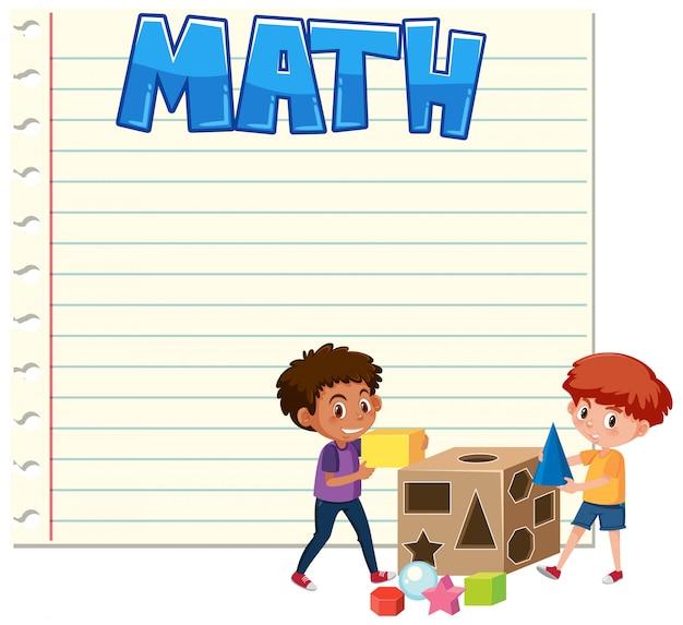 Meninos de matemática no modelo de nota