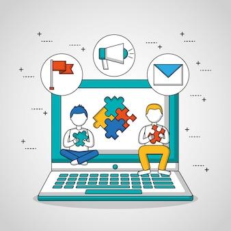 Meninos de trabalho em equipe de pessoas sentada no quebra-cabeça de tela de computador