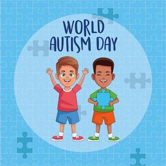 Meninos do dia mundial do autismo com peças de quebra-cabeça vector design ilustração