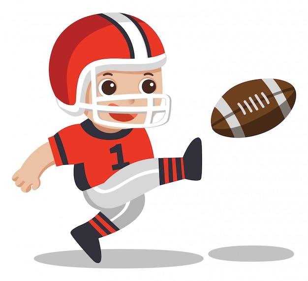 Meninos do esporte. um lindo garoto jogando futebol americano.