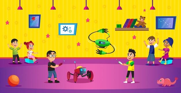 Meninos dos desenhos animados segurar o controle remoto do robô de brinquedo