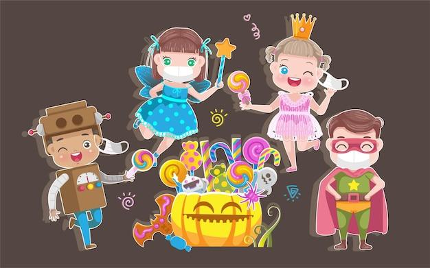 Meninos e menina máscara conjunto de fantasia de halloween.