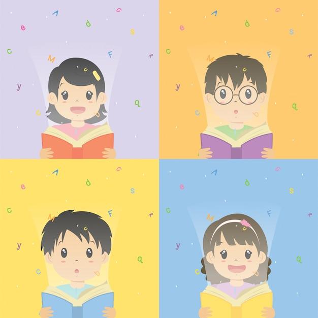 Meninos e meninas a ler o conjunto de vetor de livro de alfabeto