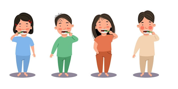 Meninos e meninas asiáticos escovam os dentes. crianças são higiene. uma criança com uma escova de dentes. ilustração vetorial em estilo simples
