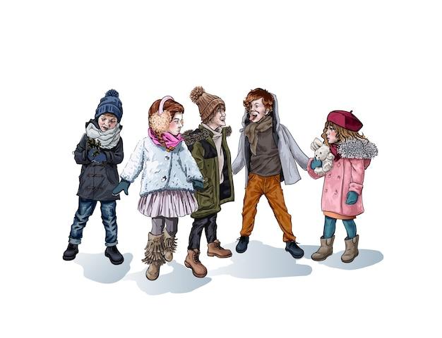 Meninos e meninas brincando ao ar livre no inverno, desenho de personagens femininos e masculinos isolados.