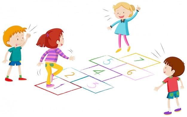 Meninos e meninas brincando de amarelinha