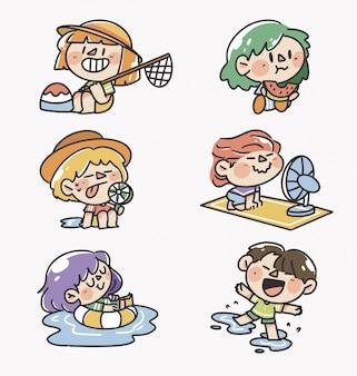 Meninos e meninas brincando no horário de verão, coleção, ilustração