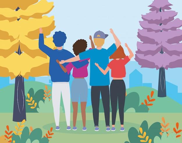 Meninos e meninas casal com pinheiros