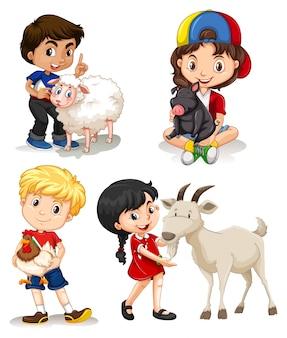 Meninos e meninas com animais de fazenda
