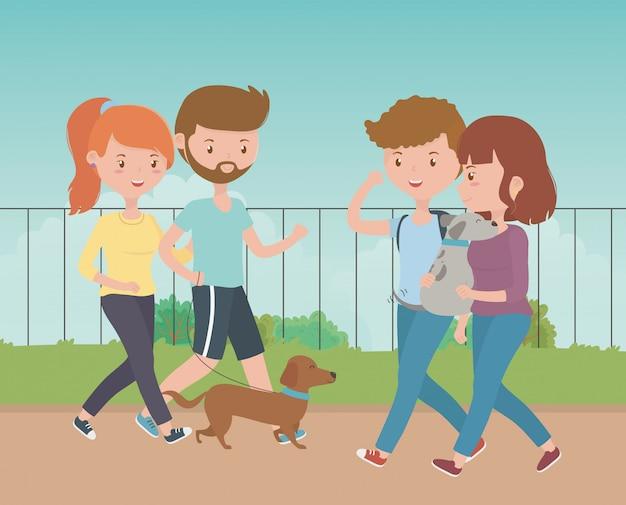 Meninos e meninas com cães