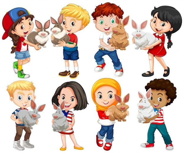 Meninos e meninas com ilustração de estimação de coelho