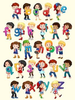 Meninos e meninas com ilustração do alfabeto inglês