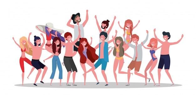 Meninos e meninas com roupa de banho de verão