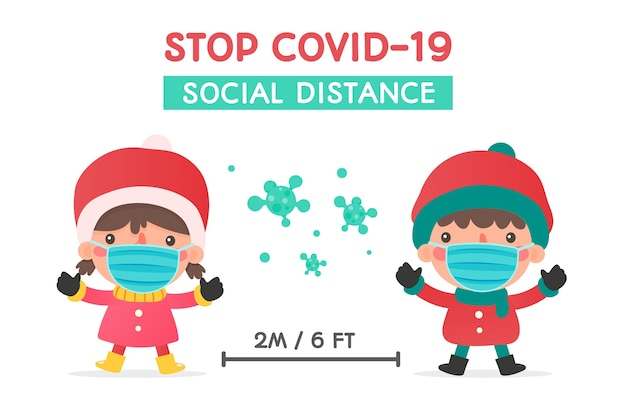 Meninos e meninas com roupas de inverno e máscaras alertam para a distância social durante o inverno de natal
