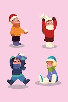 Meninos e meninas da temporada de inverno com roupas quentes e desenho de bola de neve
