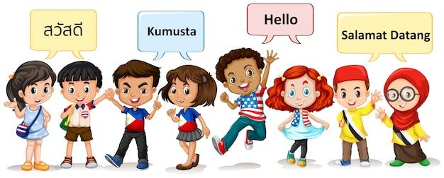 Meninos e meninas de diferentes países