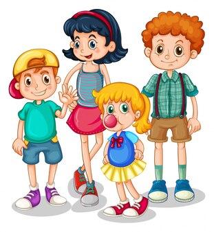 Meninos e meninas em pé na ilustração do grupo