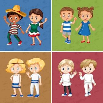 Meninos e meninas em quatro cores diferentes