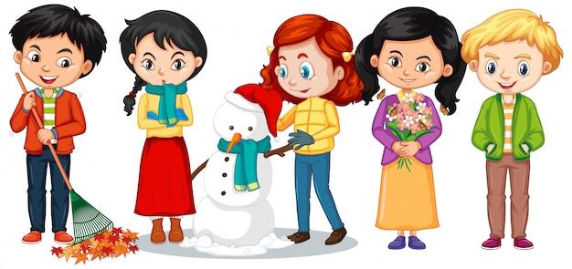 Meninos e meninas em roupas de inverno