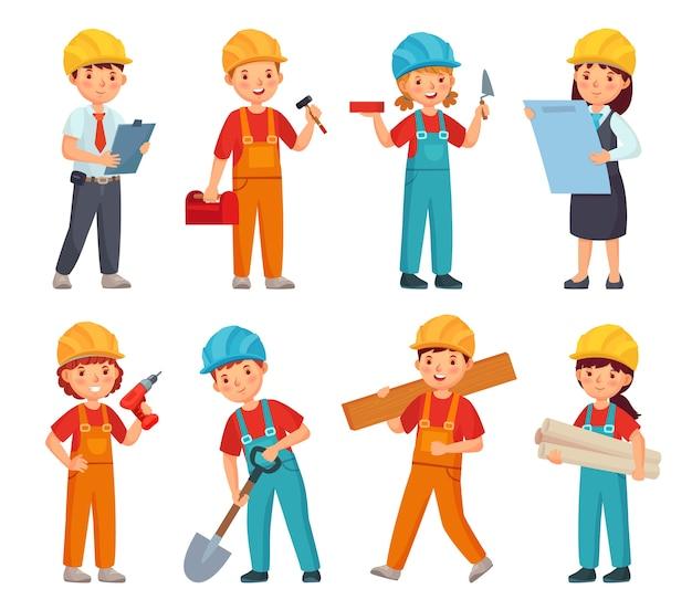 Meninos e meninas em traje de trabalho de construtor, crianças em capacete de construção e trajes de engenharia.