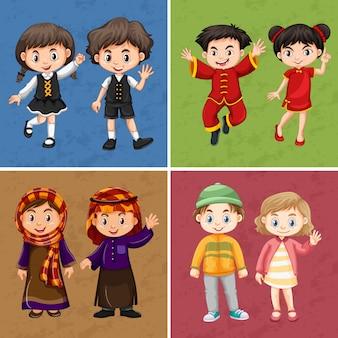 Meninos e meninas em trajes tradicionais
