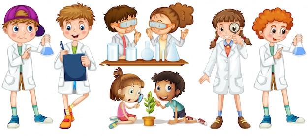 Meninos e meninas em vestido de ciência