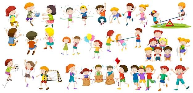 Meninos e meninas fazendo diferentes atividades