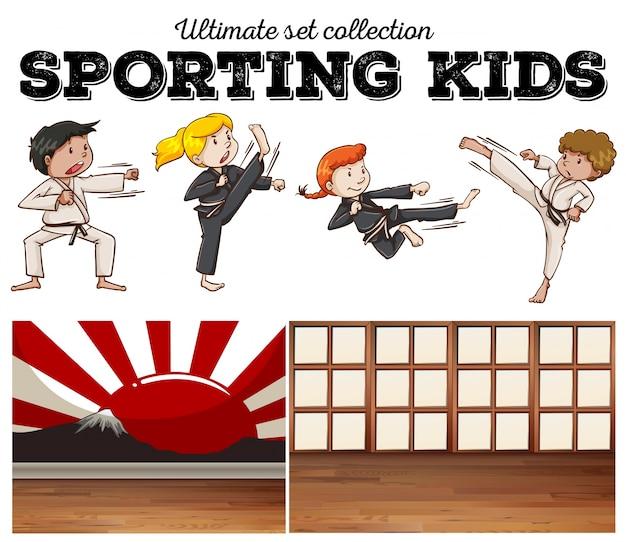 Meninos e meninas fazendo ilustração de artes marciais