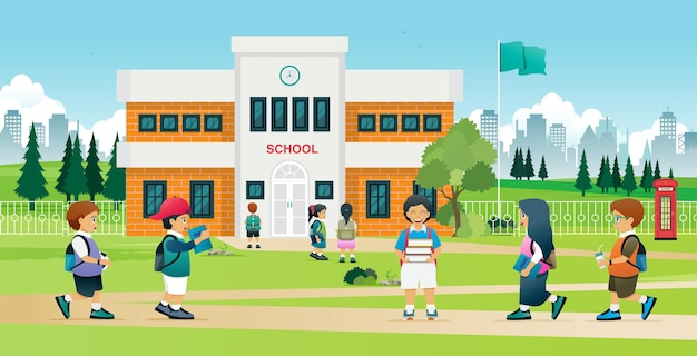 Meninos e meninas ficam felizes em encontrar amigos na escola.
