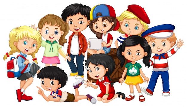 Meninos e meninas juntos em grupo