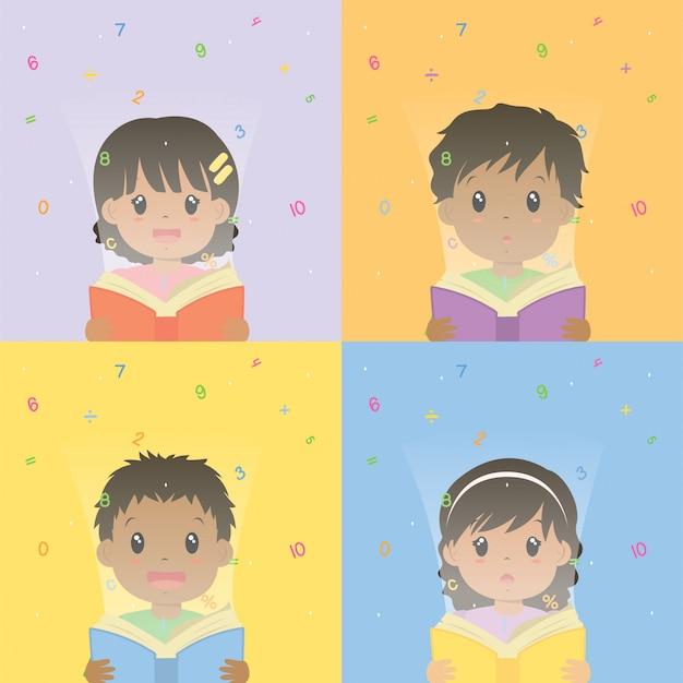 Meninos e meninas lendo conjunto de vetores de livro de matemática