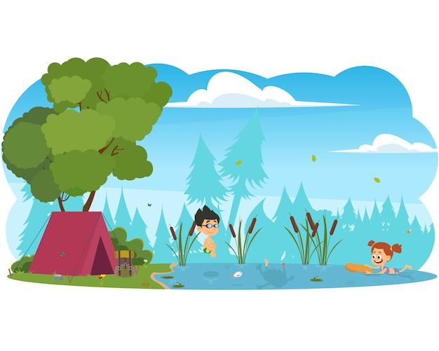 Meninos e meninas nadando no rio.