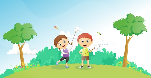 Meninos e meninas pegando libélulas