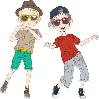 Meninos engraçados hipster de vetor dançando