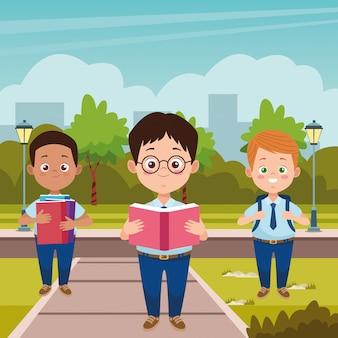 Meninos estudantes com personagens de uniformes