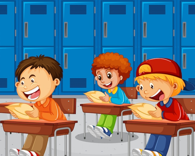 Meninos fazendo o exame