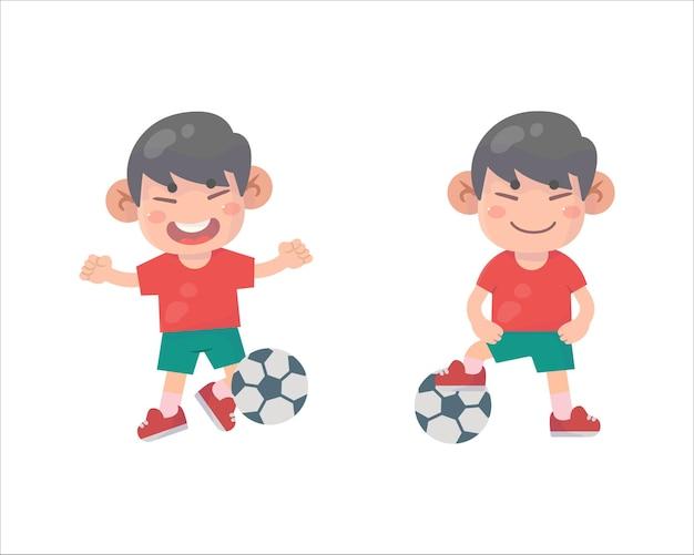 Meninos felizes, menino, jogar futebol