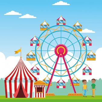 Meninos felizes na feira com roda gigante e barraca justa sobre a paisagem