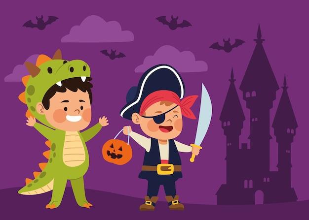 Meninos fofos vestidos de pirata e desenho de ilustração vetorial de dinossauro