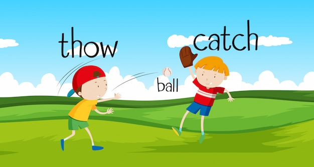 Meninos jogando e pegando a bola no campo
