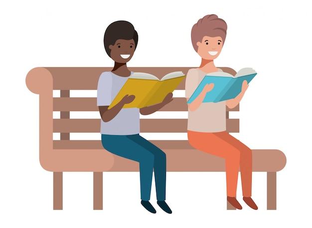 Meninos jovens, sentando, livro leitura