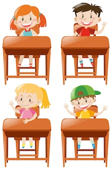 Meninos, meninas, sentando, escrivaninha