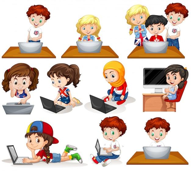 Meninos meninas, trabalhando, computador