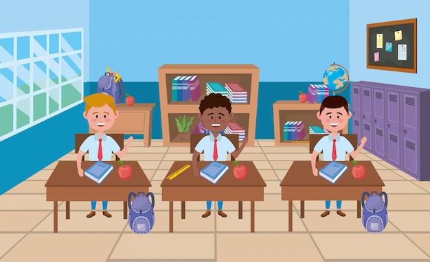 Meninos na sala de aula da escola