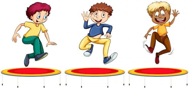 Meninos pulando nos trampolins