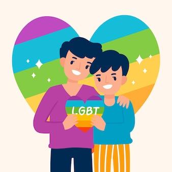Meninos segurando coração arco-íris