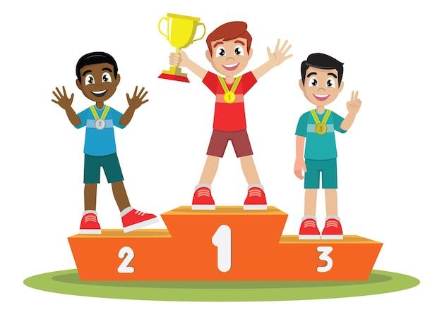 Meninos vencedores pódio com atletas juniores
